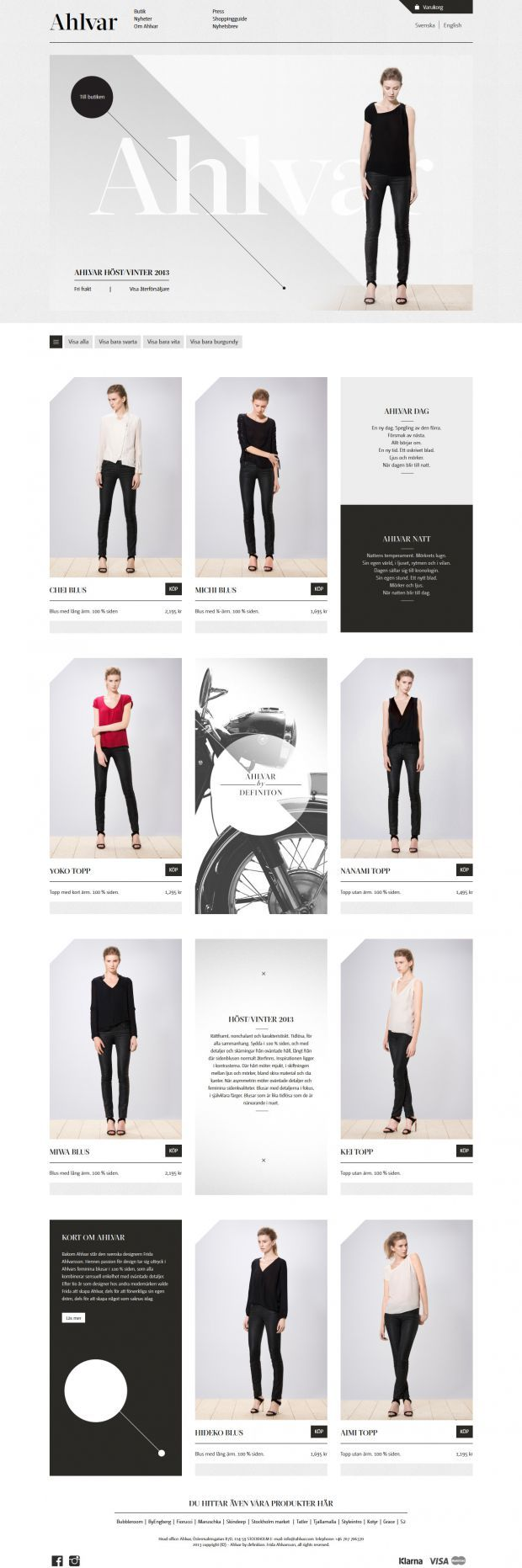 Blusar och toppar dag och natt - Ahlvar - Webdesign inspiration www.niceoneilike.com