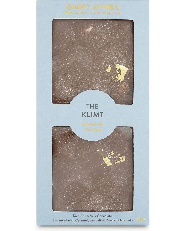 SAINT AYMES - The Klimt salted caramel & roasted hazelnut 23ct gold milk chocolate | Selfridges.com