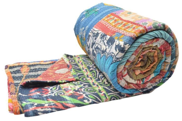 "Vintage Kantha Quilt Gudri Patchwork Throw Queen Size 90""x108"" India ID15394 #Handmade"