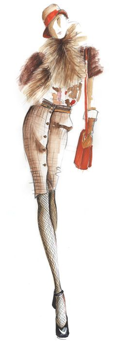 textures fashion illustration demo-Patsy Fox -MANY good sketches and demos*********