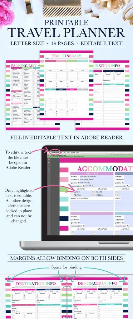Printable Travel Planner - Vacation Planner - Trip Planner - Travel Planning Kit - Trip Itinerary - Packing List - Travel Printable. Download the files, fill in the text, and print!
