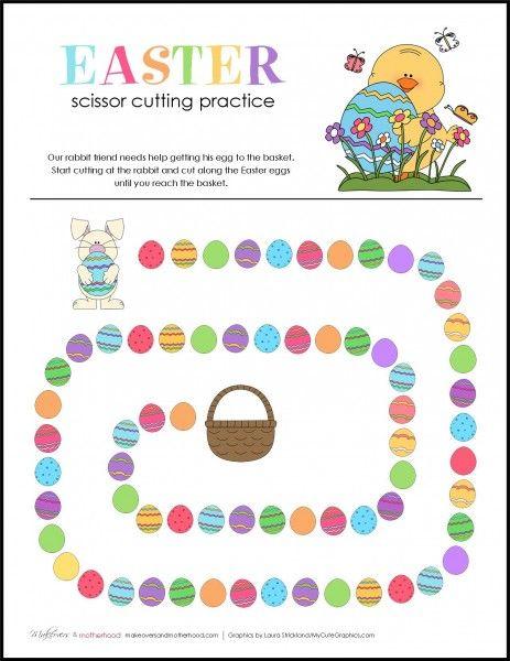 Easter Scissor Cutting Practice Sheets;  www.makeoversandmotherhood.com