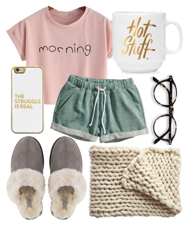 """Good morning☀️shine"" by jadenriley21 on Polyvore featuring H&M, UGG, BaubleBar and Serena & Lily"