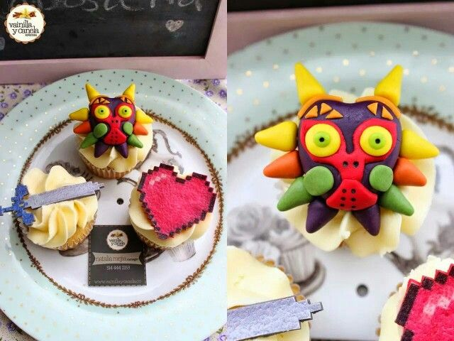 #Majoras #Mask inspired #cupcakes 100% edible! #TheLegend of #Zelda!