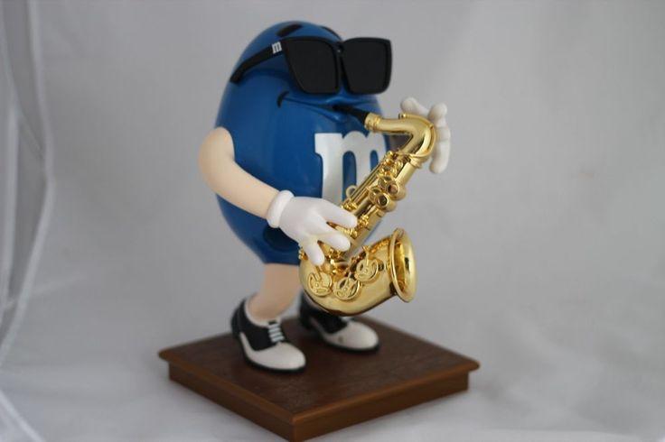 M&M's Blues Cafe Blue Peanut M&M Saxophone Player Candy Dispenser #MM