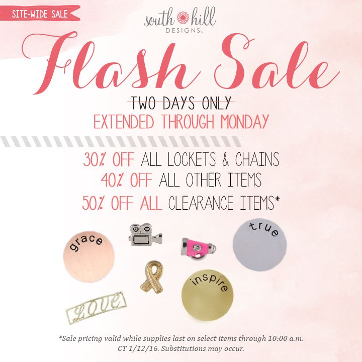 Flash Sale extended till Monday and everything on the entire site is 30-50% off. New items are selling out fast. Get them while you can! Kazdesigns.southhilldesigns.com