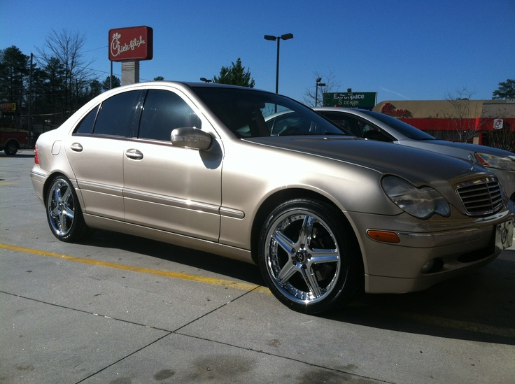 """Here's a close up of Terrell Hood's 2004 Mercedes C240 sporting 18"""" Lorenzo WL019 wheels. Photo taken at our Stone Mountain Rimco store at 5540 Memorial Drive Stone Mountain, GA 30083. (404) 292-5267."""
