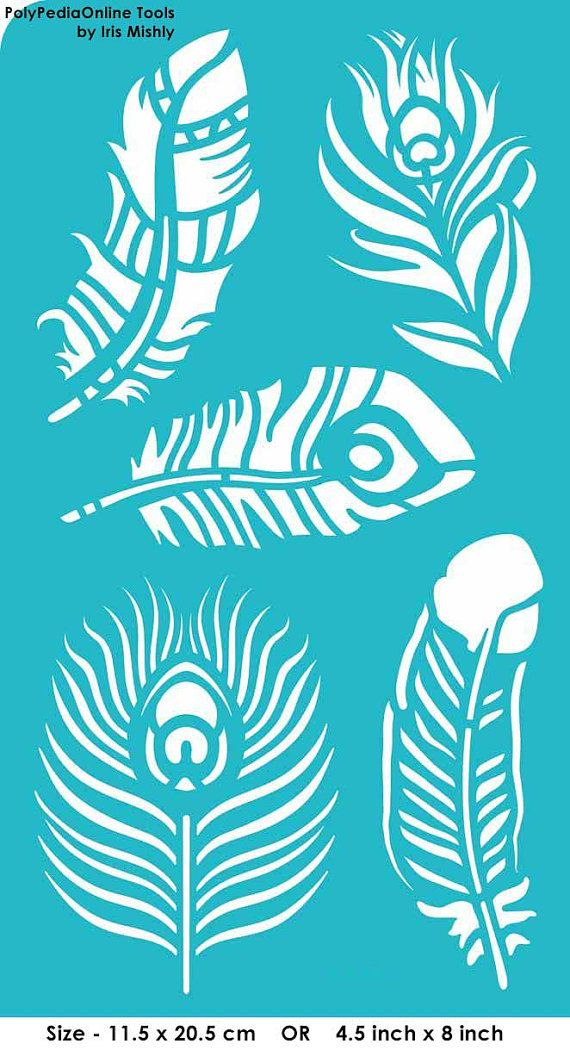 """Stencil Stencils Templates """"Feathers, Peacock Feather"""", self-adhesive, flexible, for polymer clay, fabric, wood, glass, card making"""