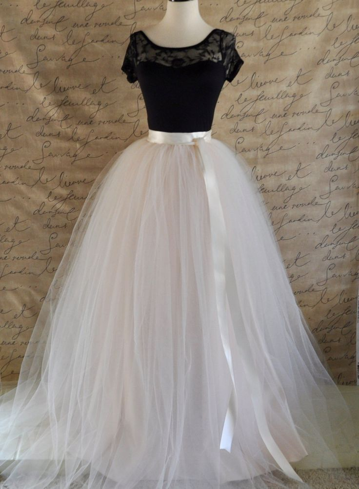 Womens full length maxi tulle skirt. Ivory and palest blush pink tulle lined in ivory satin Wedding tutu High waisted skirt Long tulle skirt by TutusChicOriginals on Etsy