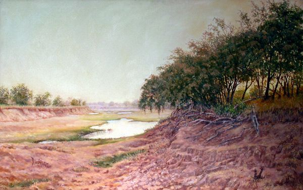 Near 'H' Camp on the Zambezi River, Zimbabwe. - Oil on Canvas - Painting by Dinah Beaton