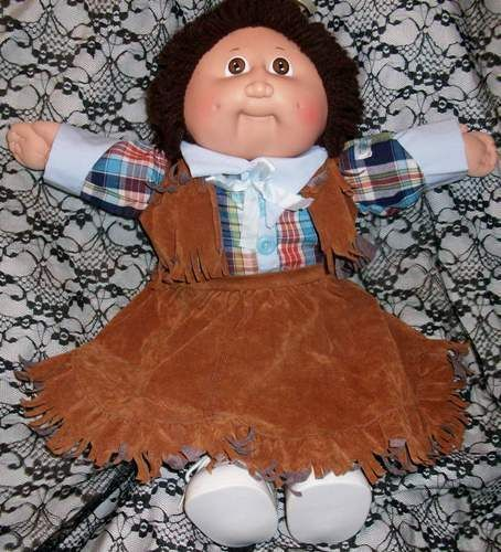 Cabbage Patch Cowgirl Doll Signed 1984 Brown Hair Brown