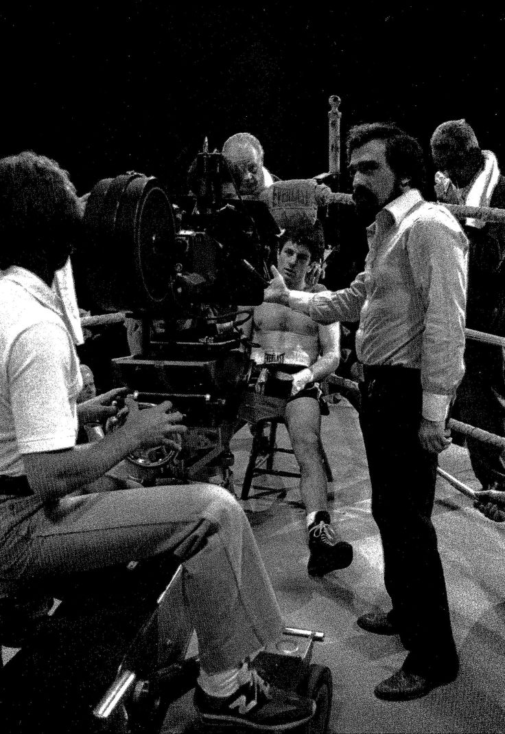 Martin Scorses behind the Arriflex BL1 on the set of Raging Bull