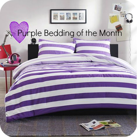 Purple And White Stripes Bedding Set Purple Bedroom
