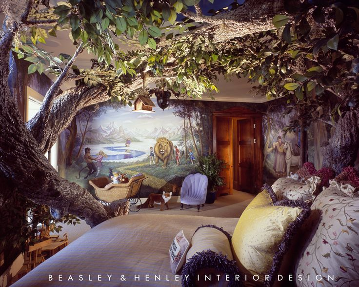 This narnia themed room has an tree made of lightweight for Home decor theme ideas