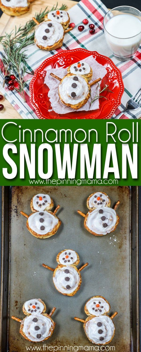 Christmas Breakfast idea- Cinnamon Roll Snowmen