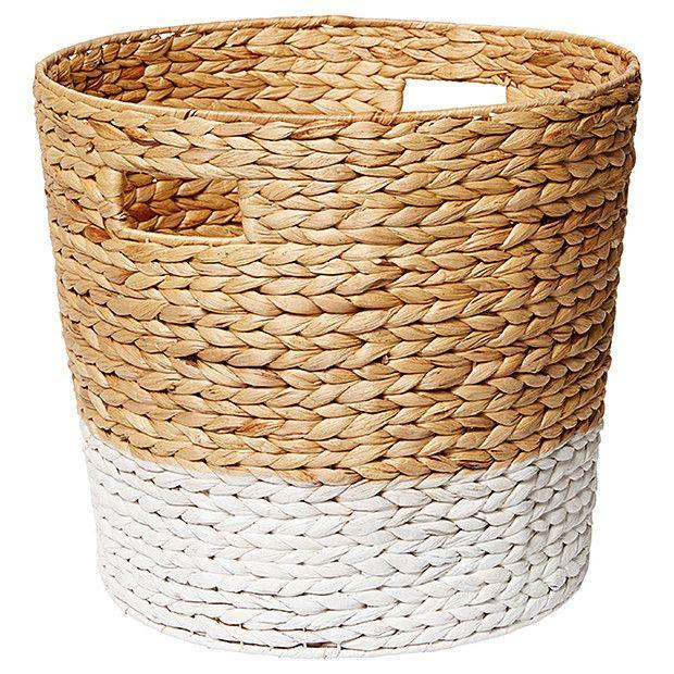 Hyacinth Large Round Basket - Dipped White