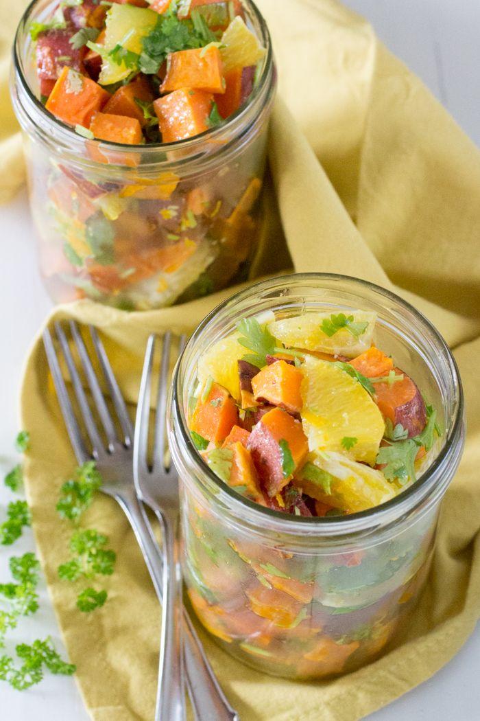 Zoete Aardappel met sinaasappel, koriander, gember, kokos- en olijfolie.