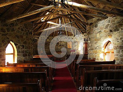 Interior of St Patrick's Chapel build in 1935 in Hogsback village, South Africa. The chapel was dedicated to the patron saint of Ireland, St Patrick.