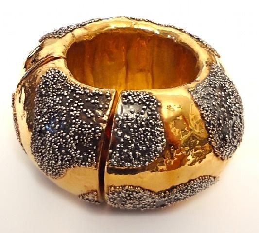 Giorgio Vigna, Italy: Gold plated, oxidized silver granulation. 1955