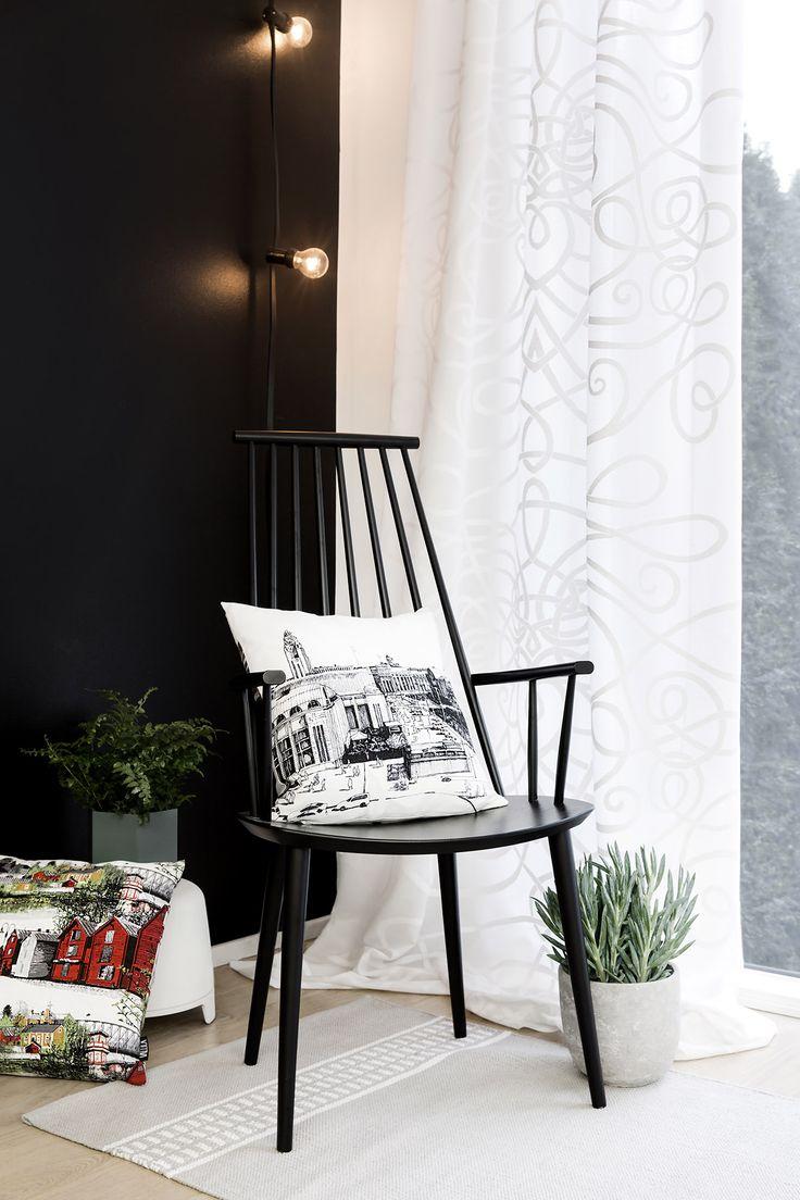 Kirjonta fancy curtain and Oulu cushion by Matleena Issakainen, Kaivokatu cushion by Tanja Orsjoki, Hetta rug by Riina Kuikka