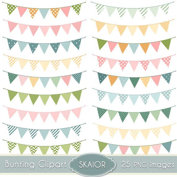 Bunting Flags Clipart Bunting Clip Art Garland Clipart Polkadot Chevron Stripes Wedding Invitations Scrapbooking by skaior