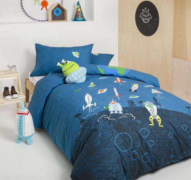 Kas Kids Alien Rocket Space Quilt Cover Set Range Multi