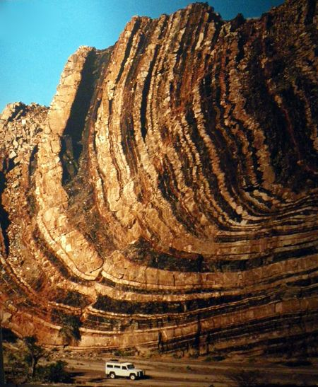 Folded rock in Namib desert