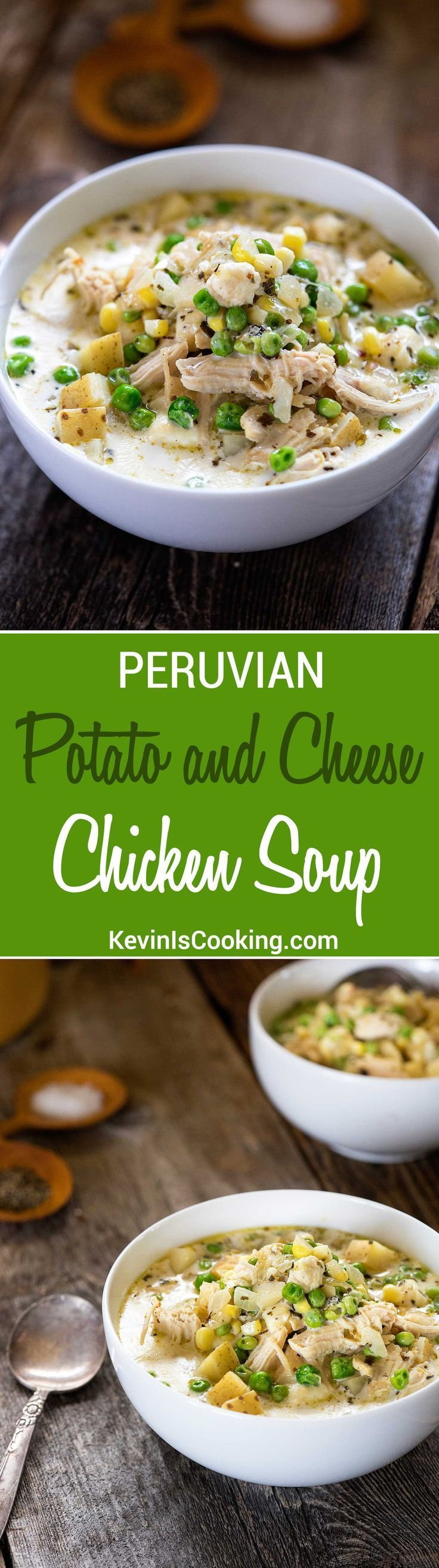 Peruvian Potato Cheese Soup with Chicken | Easy to make soup will have you coming back for seconds with all the fresh vegetables and melting cheese!