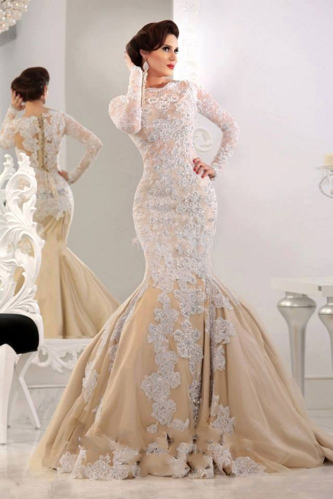 Long Lace Sleeve Champagne Colored Gown With Jeweled White