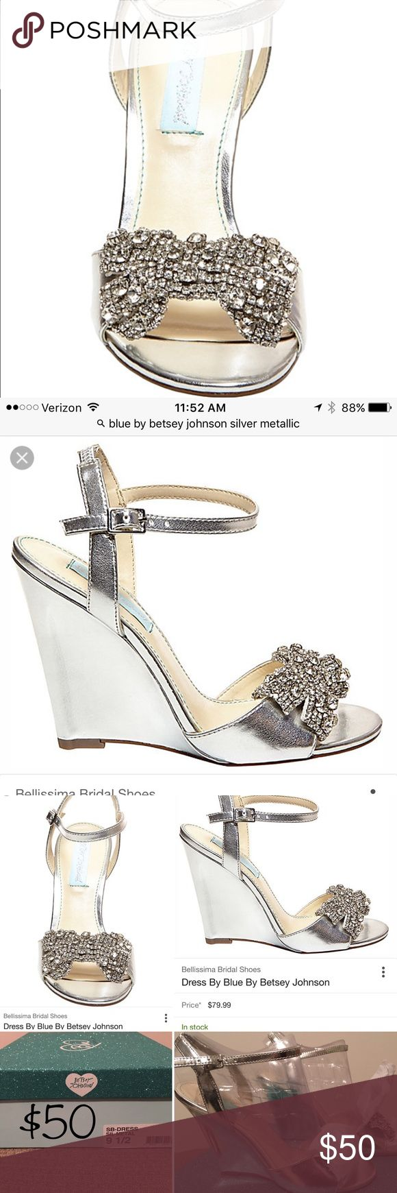 silver wedges with bedazzled bows. Blue by Betsey Johnson silver metallic wedges with sparkling bows. Never worn. Purchased for wedding and didn't end up wearing them. Betsey Johnson Shoes Wedges