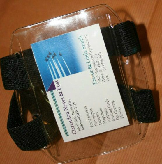 Defence Gifts - CLEAR ARMBAND ID CARD HOLDER Twin Velcro Straps, $4.50 (http://www.defencegifts.com.au/clear-armband-id-card-holder-twin-velcro-straps/)