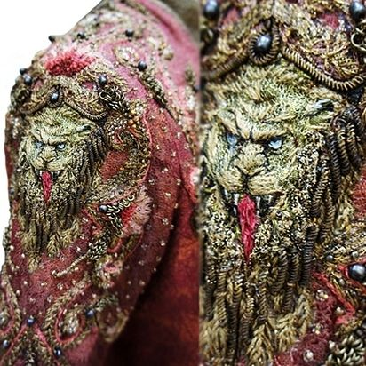 """These Close-Ups Of """"Game Of Thrones"""" Fashion Will Take Your Breath Away. Embroidery by designer Michele Carragher."""