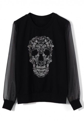 Floral Skull Embroidery Black Top