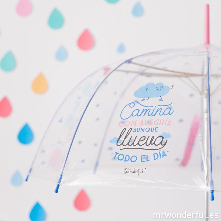 Paraguas largo - Camina con alegría aunque llueva todo el día