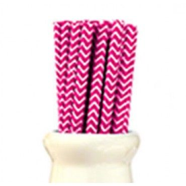 Paper Straws Chevron Hot Pink - Party Shop :: Big Dreams