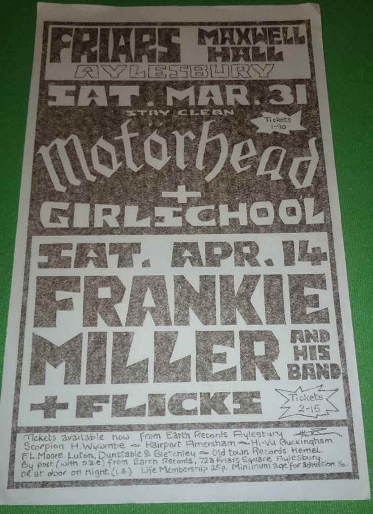 Motorhead and Girlschool   Aylesbury Friars  ,  Stay Clean tour 1979  ( Sat Mar 31 )  Original 33x20cm Fullscrap 2 Sided Promotional Flyer by bastarduk on Etsy