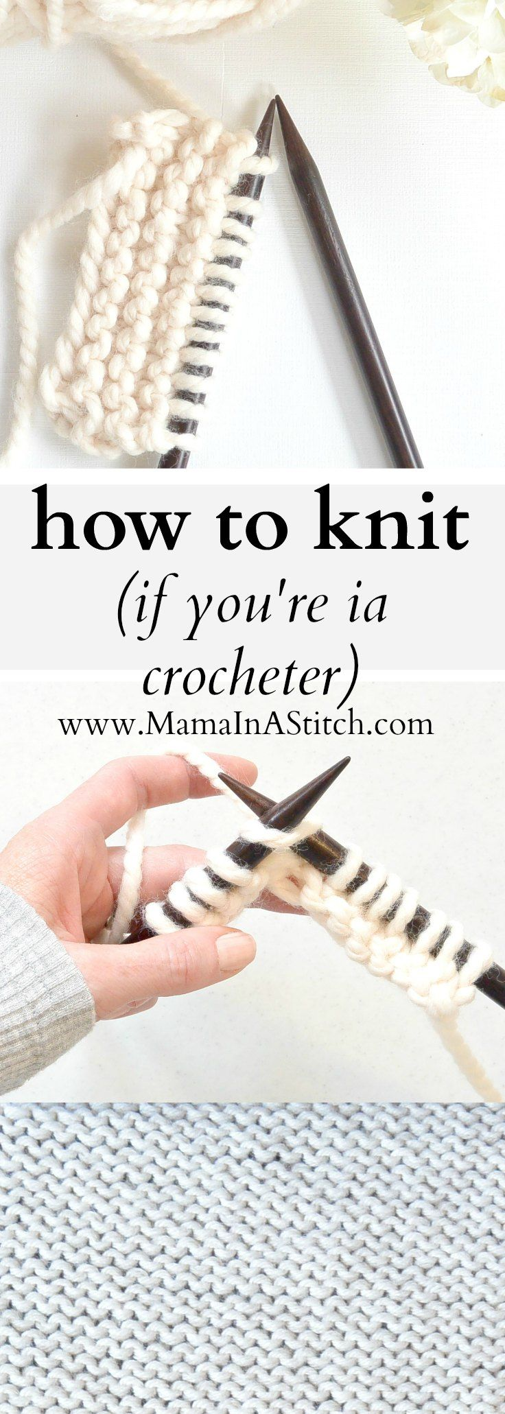 How To Knit (If You Crochet) via @MamaInAStitch This knitting tutorial will show you how to knit. It uses a method where you'll hold the yarn similarly to how you hold it with crochet. #crafts #diy #crochet