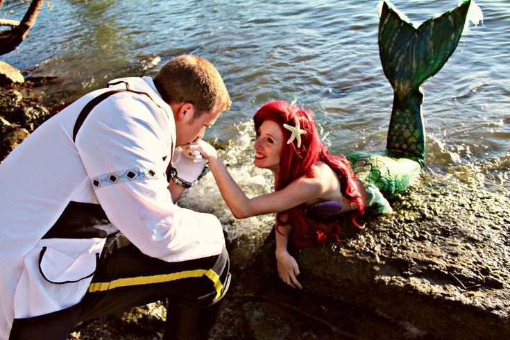 "Aww, so many feels!  ""Daniel secretly set up a little mermaid photo shoot for my friend and I, and then showed up in the middle of it dressed as Prince Eric. I was in my mermaid tail on the riverside when he got down on…"