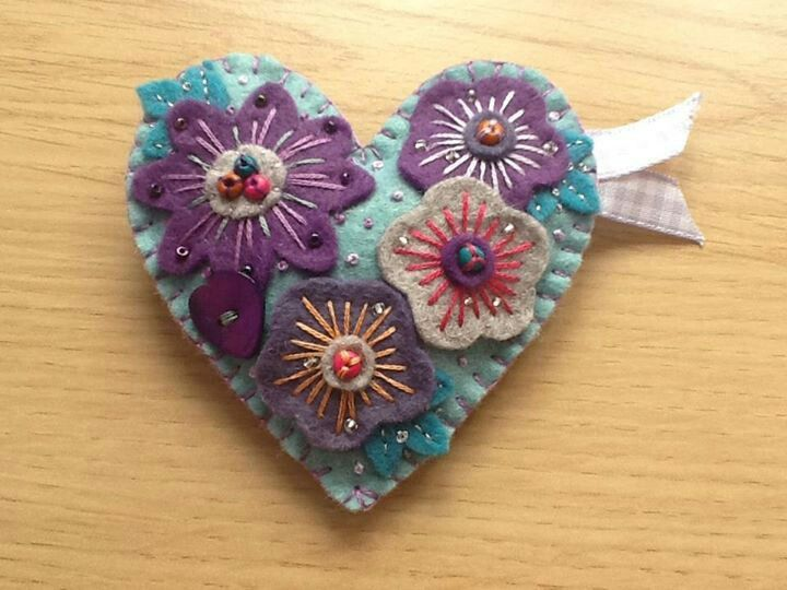 Purple and aqua handmade floral heart brooch, made as a good luck for Beth's exams.