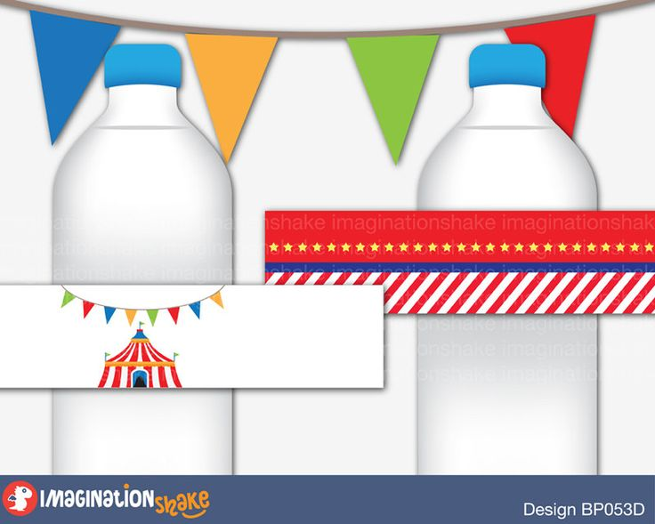 Carnival Bottle Wrappers Jar Labels PRINTABLE / Carnival Birthday Party / Circus Bottle Labels / Party Printables / Amusement Park Theme - pinned by pin4etsy.com