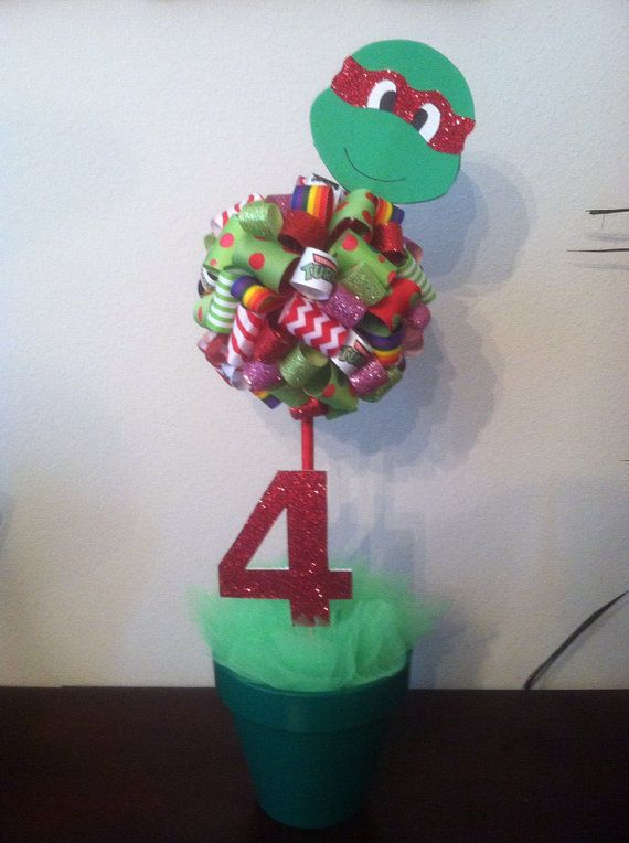 Ninja Turtles Centerpiece for girls by DDimplesBoutique on Etsy, $25.00
