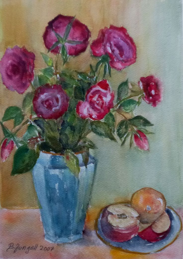"""Still life with roses and fruits"" Original watercolor painting by Britta Bergström-Jungell."