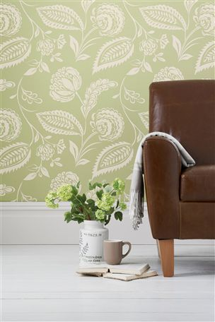 Smart artisan floral green wallpaper new lounge for Next living room wallpaper