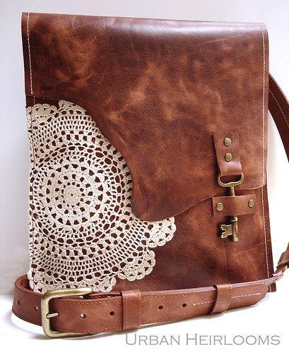 Boho messenger bag with antique brass key and vintage crochet doily