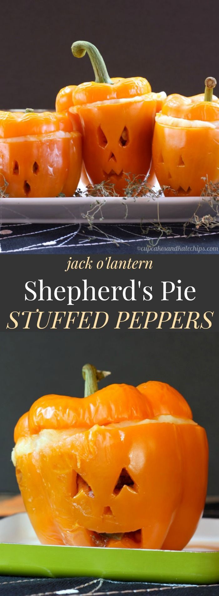 Jack O'Lantern Shepherd's Pie Stuffed Peppers - try this easy beef mixture topped with cheesy mashed potatoes for Halloween dinner! Gluten free | http://cupcakesandkalechips.com