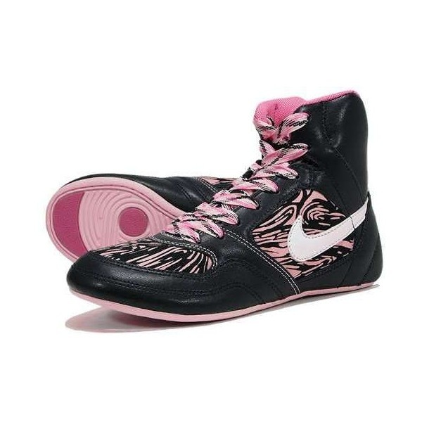 Nike Women's Pink Zebra Print Greco Wrestling Shoes found on Polyvore