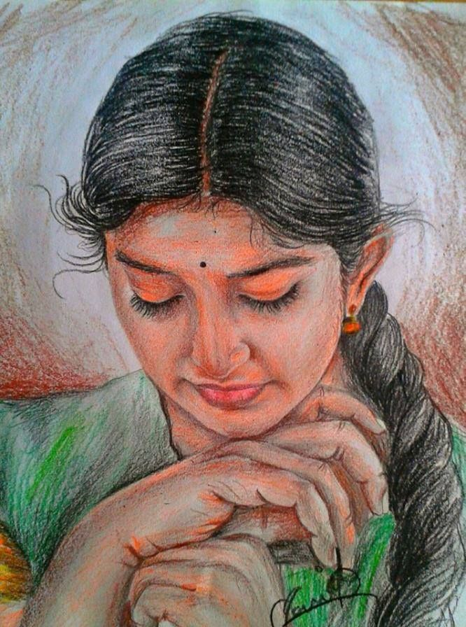 Colour pencil sketch చిత్రలేఖనం indian paintings