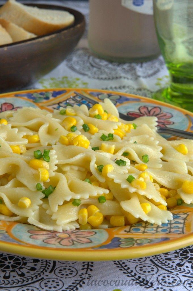 Lista en 15 minutos - Pasta con maiz y cebollinos #recetasfaciles #pastas