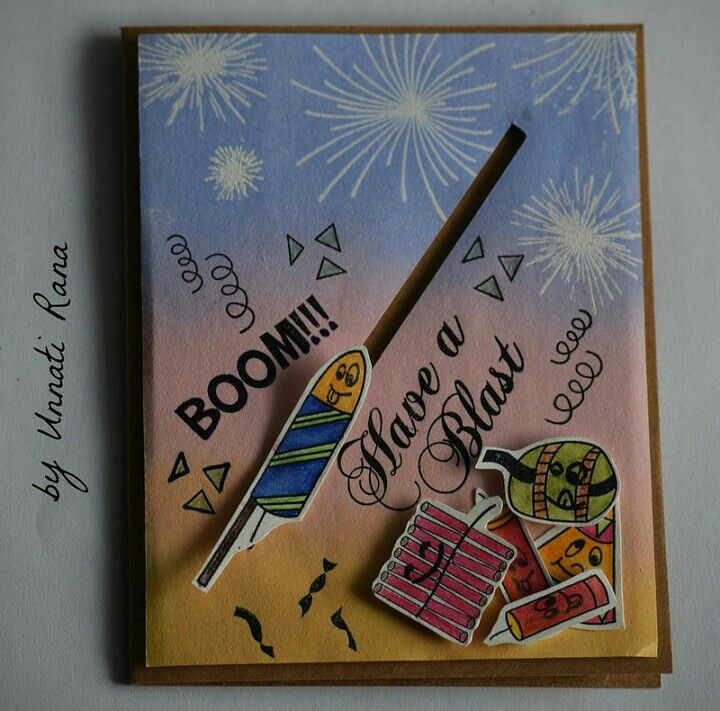 Diwali Firecrackers Fireworks Slider Card Handmade