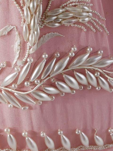 Detailing of the beadwork on the pink muslin evening dress (circa 1830) Regency England.  Part of the LACMA collection